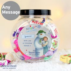 Personalised The Snowman and the Snowdog Blue Sweet Jar Gift