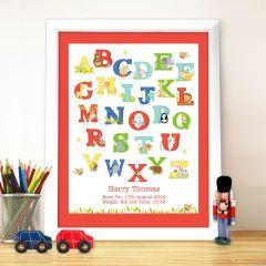 Personalised Animal Alphabet Letter White Framed Print