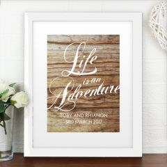 Personalised 'Life is an Adventure' White Framed Poster Print