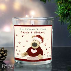 Personalised Boofle Bear Christmas Love Scented Jar Candle