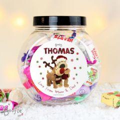 Personalised Boofle Bear Christmas Reindeer Sweet Jar