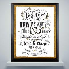 Personalised We Go Together Like... Black Framed Picture