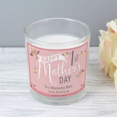 Personalised Floral Bouquet 1st Mothers Day Scented Candle in Jar
