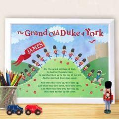 Personalised Grand Old Duke of York White Framed Poster Print