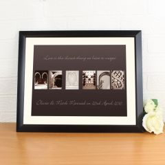 Personalised Mr & Mrs Affection Art Design Black Framed Poster Print