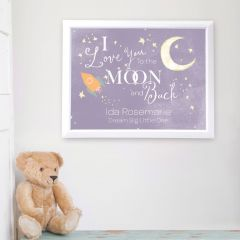 Personalised Love You To The Moon & Back White Framed Poster Print