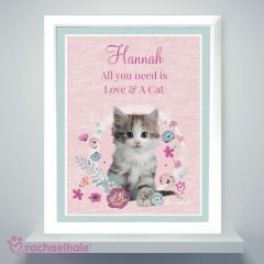 Personalised Cute Kitten White Framed Poster Print by Rachael Hale