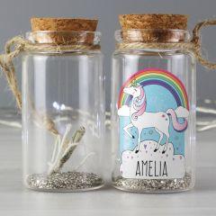 Personalised Unicorn Design Glitter Message in a Bottle
