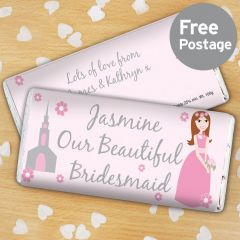 Personalised Beautiful Bridesmaid Chocolate Bar