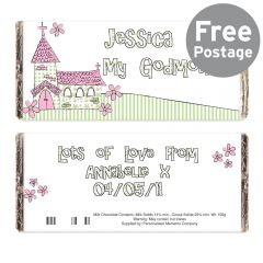 Personalised Whimsical Church Godmother Chocolate Bar