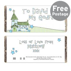 Personalised Whimsical Church Godfather Chocolate Bar