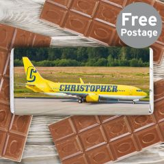 Personalised Airliner Yellow Chocolate Bar