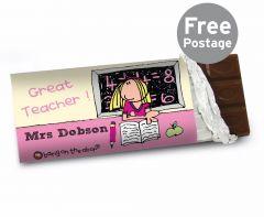 Personalised Bang On The Door Female Teacher Chocolate Bar