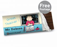 Personalised Bang On The Door Male Teacher Chocolate Bar