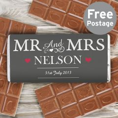 Personalised Mr & Mrs Chocolate Bar