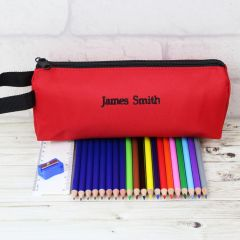 Personalised Red Pencil Case with Colouring Pencils