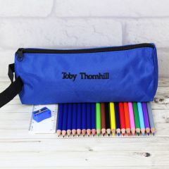 Personalised Blue Pencil Case with Colouring Pencils