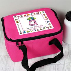 Personalised Bang On The Door Animal Alphabet Letter Girls Lunch Bag