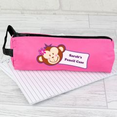 Personalised Monkey Face Pink Pencil Case