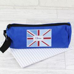 Personalised Blue Union Jack Pencil Case