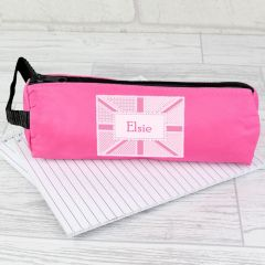 Personalised Pink Union Jack Pencil Case