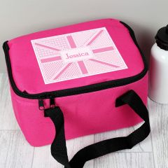 Personalised Pink Patchwork Union Jack Childrens Lunch Bag