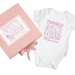 Personalised Twinkle Design Girls Pink Gift Set - Baby Vest