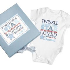 Personalised Twinkle Design Boys Blue Gift Set - Baby Vest