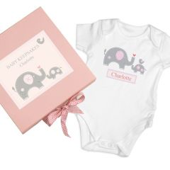 Personalised Pink Baby Vest Gift Set Box With Elephant Design