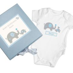 Personalised Blue Baby Vest Gift Set Box With Elephant Design