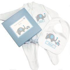 Personalised Blue Baby Boy Elephant Gift Set