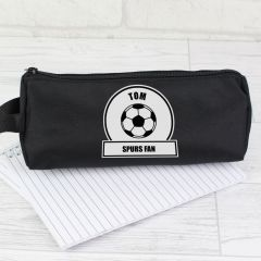 Personalised Football Fan Black Pencil Case
