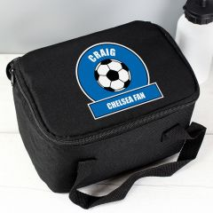 Personalised Dark Blue Football Fan Childrens Lunch Bag