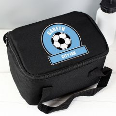 Personalised Sky Blue Football Fan Childrens Lunch Bag