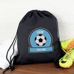 Personalised Sky Blue Football Fan Drawstring Bag