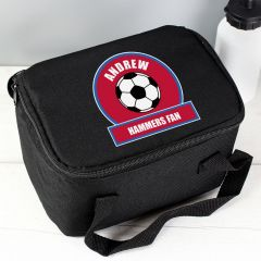 Personalised Claret and Blue Football Fan Childrens Lunch Bag