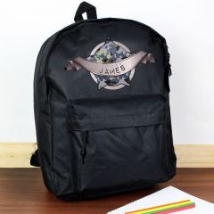 Personalised Black Backpack With Army Camo