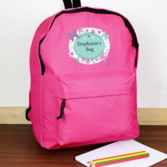 Personalised Butterfly Design Pink Backpack