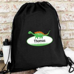 Personalised Dinosaur Design Black Swim & Kit Bag