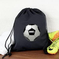 Personalised Football Black Drawstring Bag