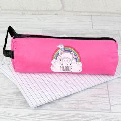 Personalised Unicorn Design Pink Pencil Case