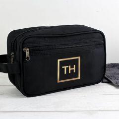 Personalised Gold Initials Black Wash Bag
