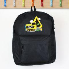 Personalised Digger Design Black Backpack