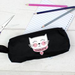 Personalised Cute Cat Black Pencil Case