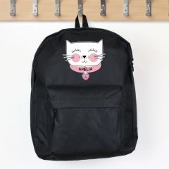 Personalised Black Backpack With Cute Cat Design