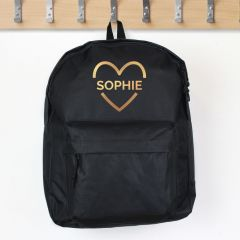 Personalised Black Backpack With Gold Heart Design