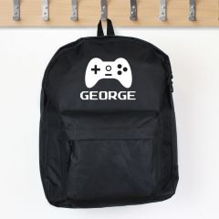 Personalised Black Backpack With Gaming Design