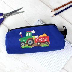 Personalised Tractor Design Blue Pencil Case