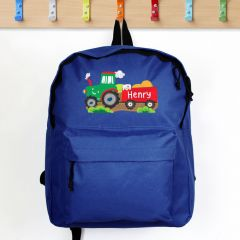 Personalised Tractor Design Blue Backpack