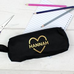 Personalised Gold Heart Black Pencil Case